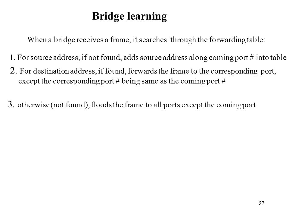 Bridge learning When a bridge receives a frame, it searches through the forwarding table: