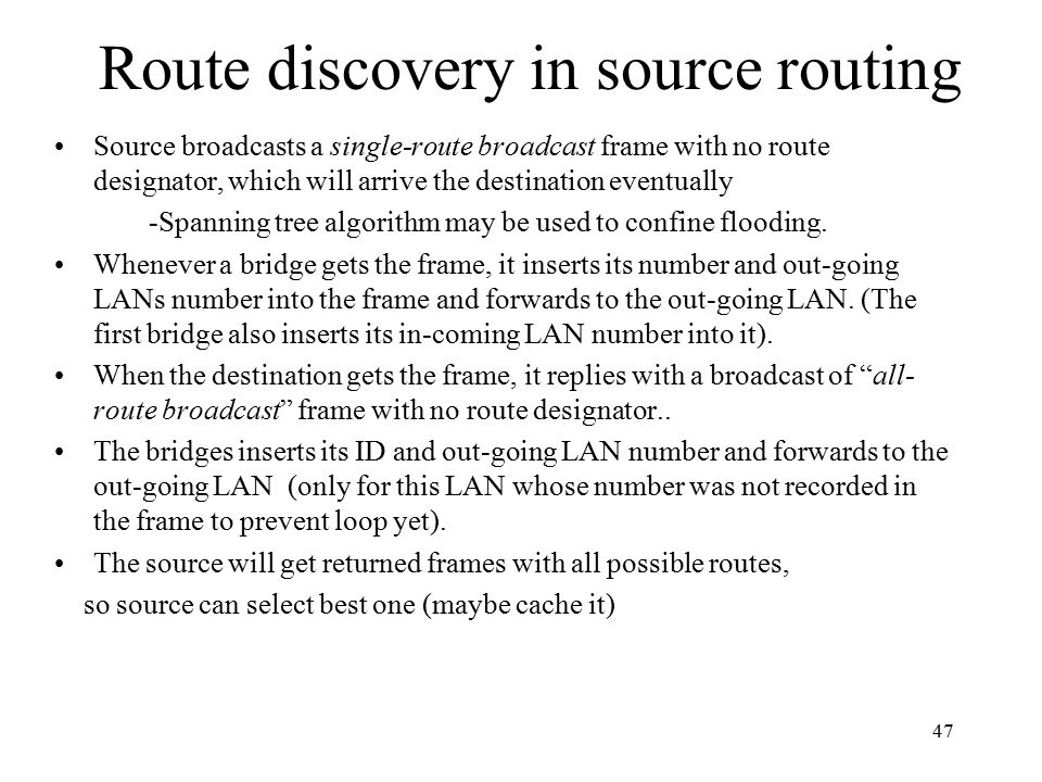 Route discovery in source routing