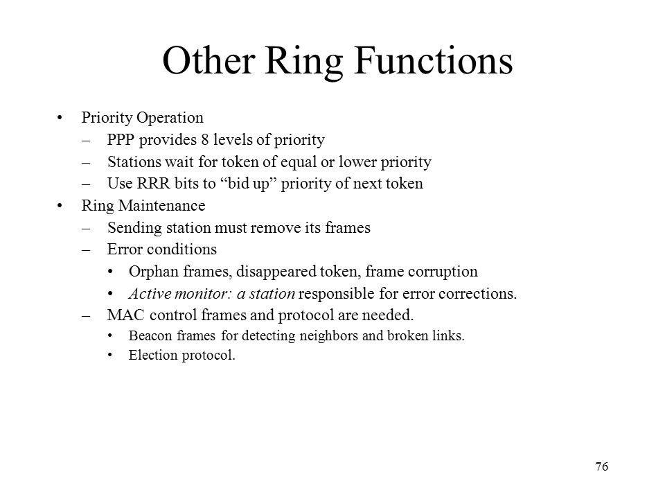 Other Ring Functions Priority Operation