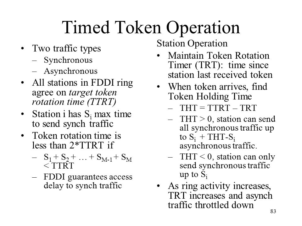 Timed Token Operation Station Operation Two traffic types