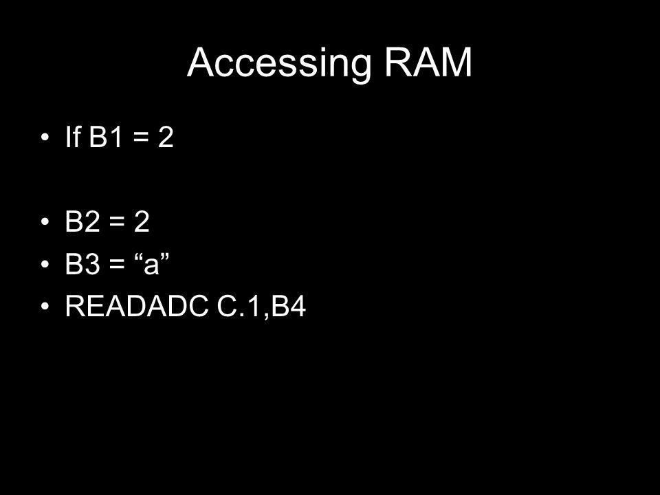 Accessing RAM If B1 = 2 B2 = 2 B3 = a READADC C.1,B4