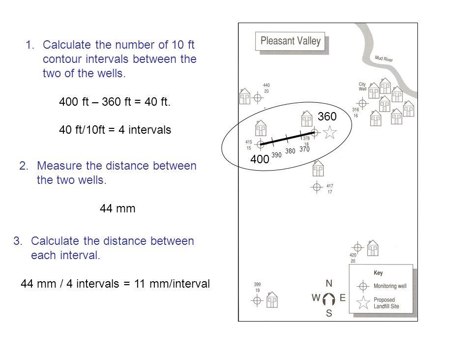 44 mm / 4 intervals = 11 mm/interval