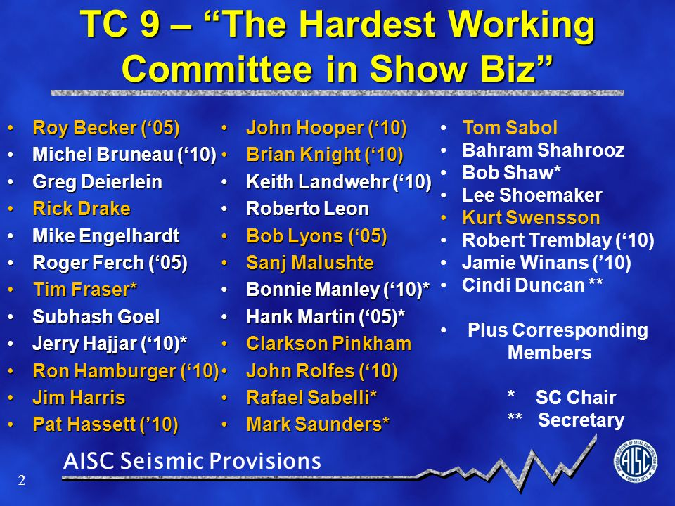 TC 9 – The Hardest Working Committee in Show Biz