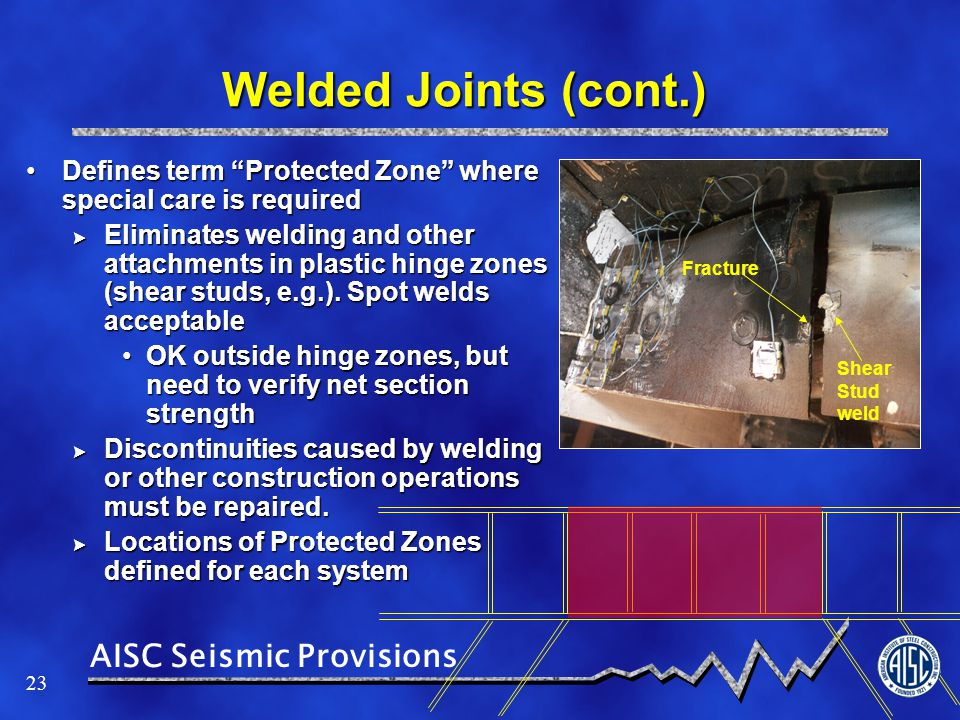 Welded Joints (cont.) Defines term Protected Zone where special care is required.