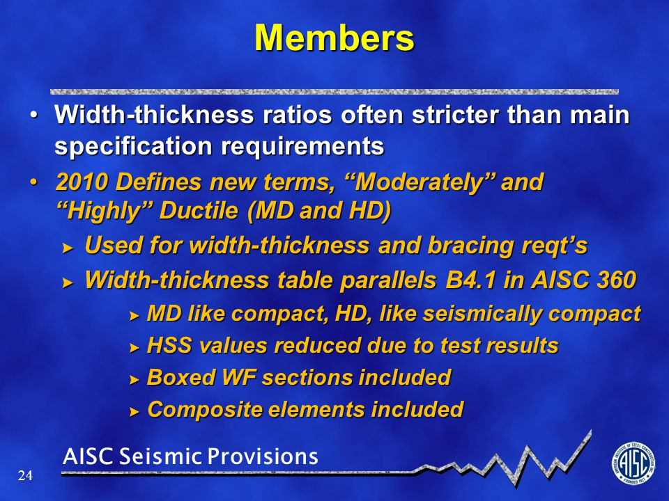 Members Width-thickness ratios often stricter than main specification requirements.