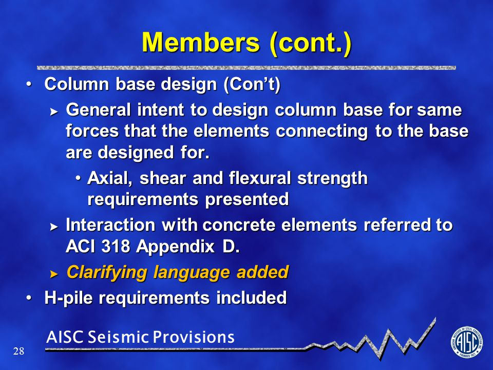 Members (cont.) Column base design (Con't)
