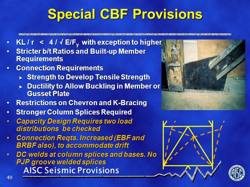 Special CBF Provisions