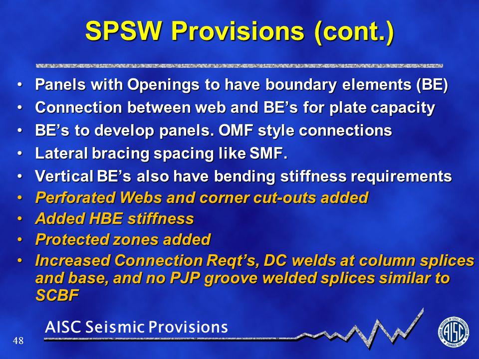 SPSW Provisions (cont.)