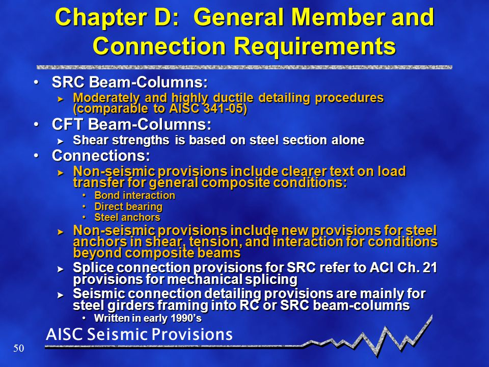 Chapter D: General Member and Connection Requirements