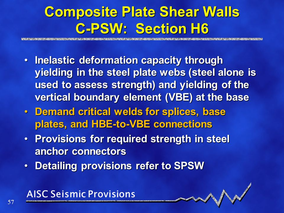Composite Plate Shear Walls C-PSW: Section H6