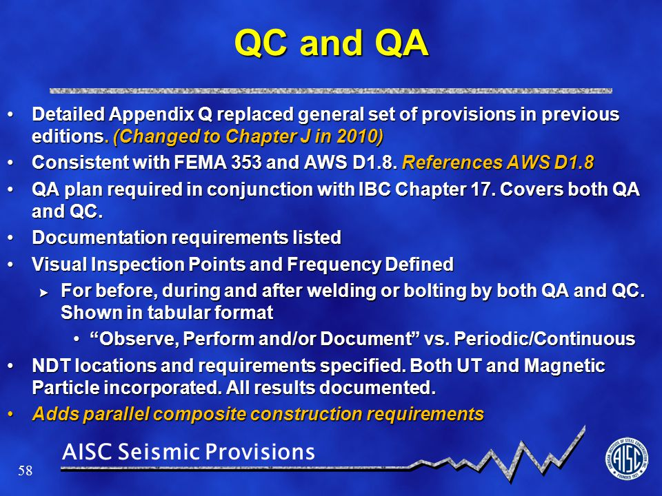QC and QA Detailed Appendix Q replaced general set of provisions in previous editions. (Changed to Chapter J in 2010)