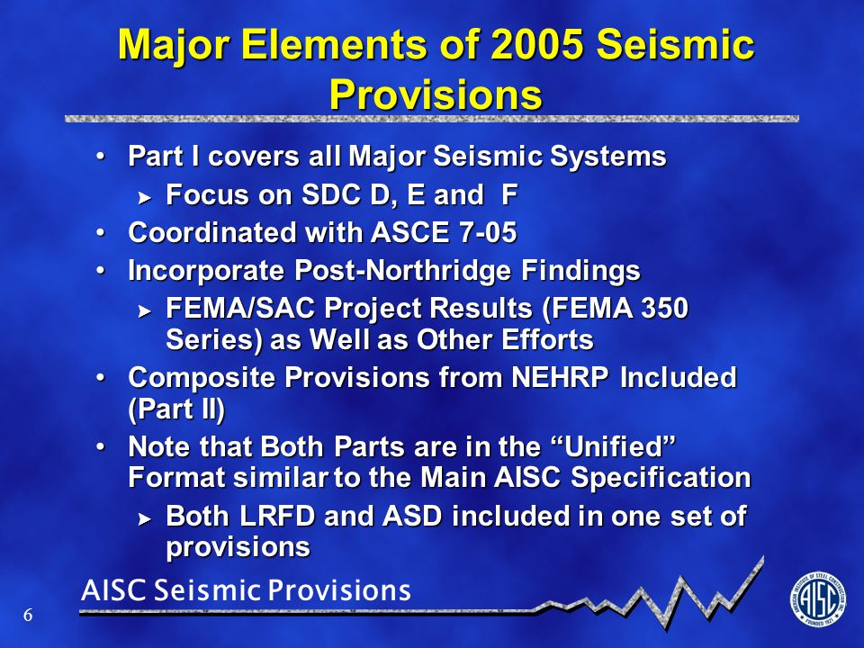 Major Elements of 2005 Seismic Provisions
