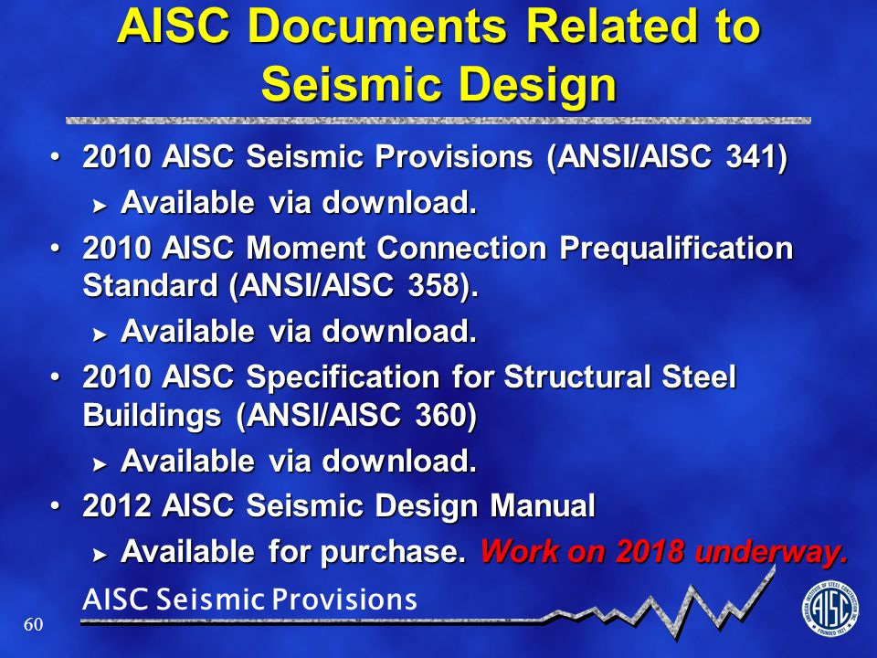 AISC Documents Related to Seismic Design