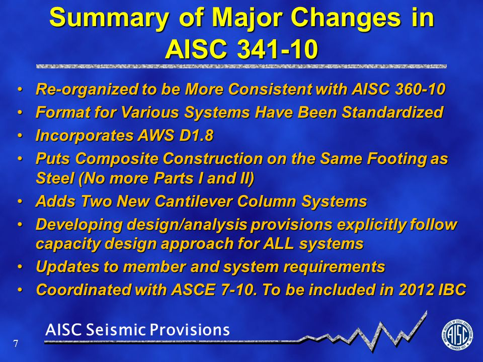 Summary of Major Changes in AISC 341-10