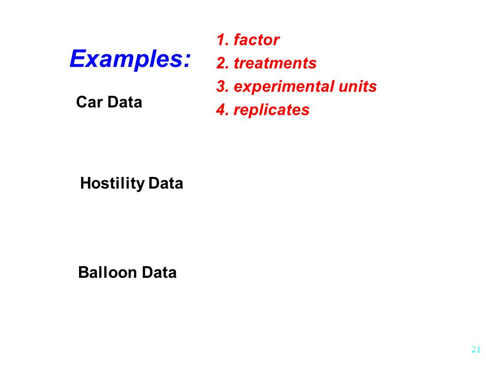 Examples: 1. factor 2. treatments 3. experimental units 4. replicates