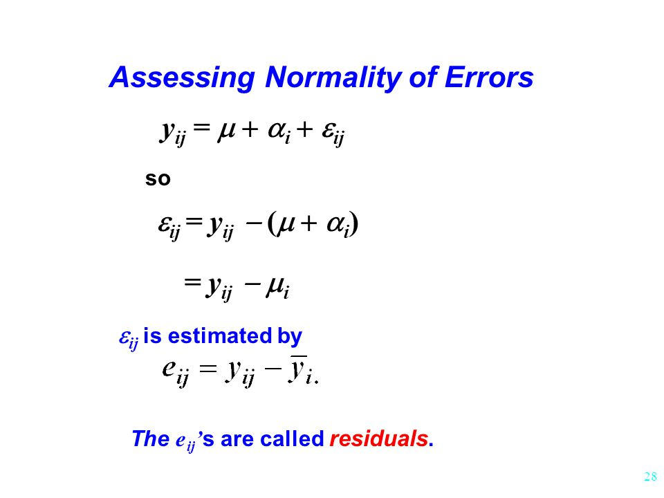 Assessing Normality of Errors The e ij's are called residuals.