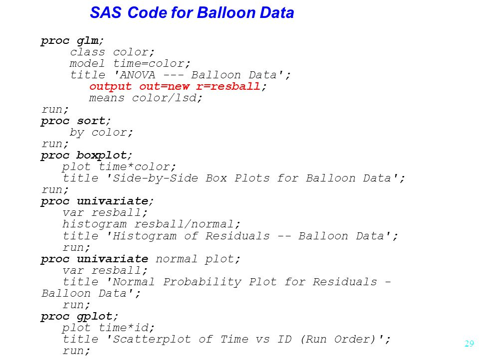 SAS Code for Balloon Data