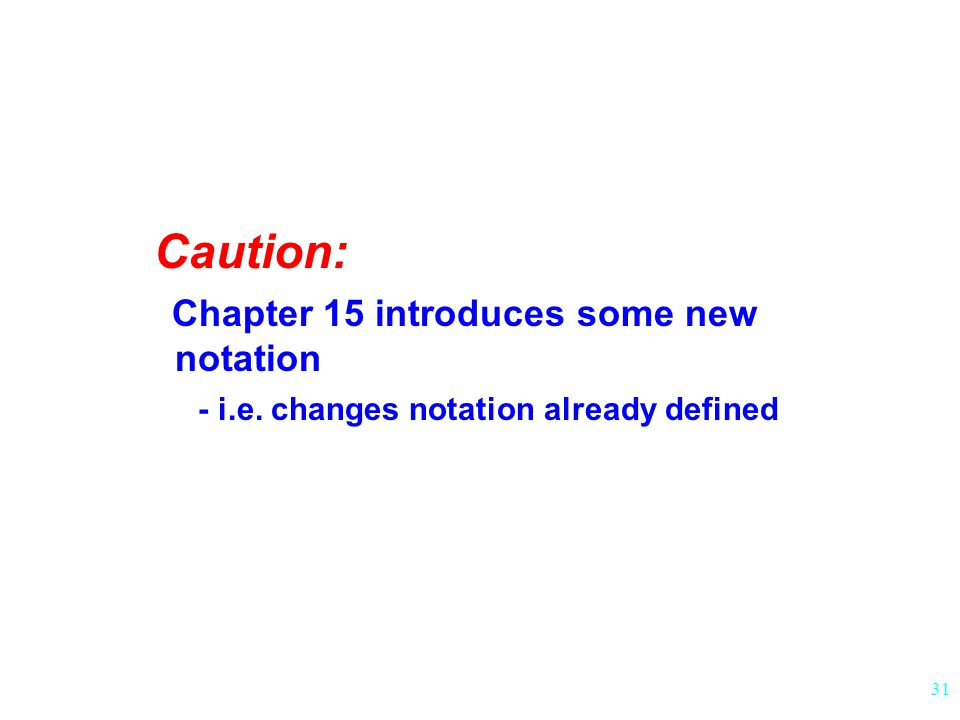 Caution: Chapter 15 introduces some new notation