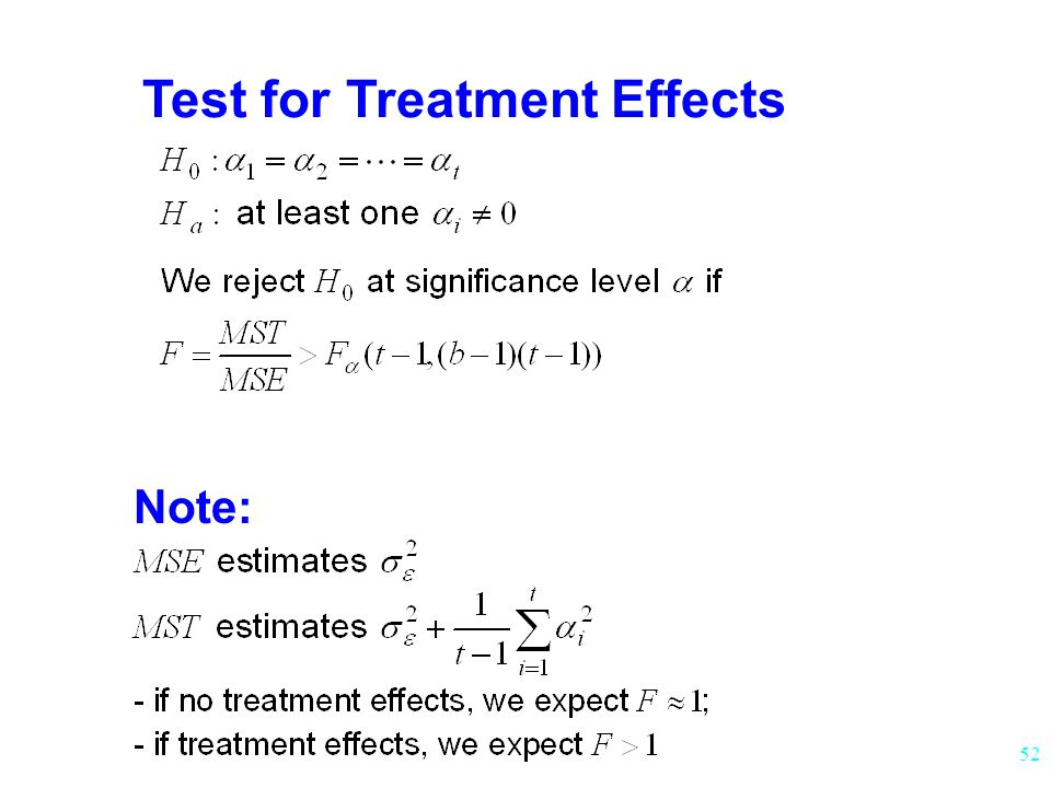 Test for Treatment Effects