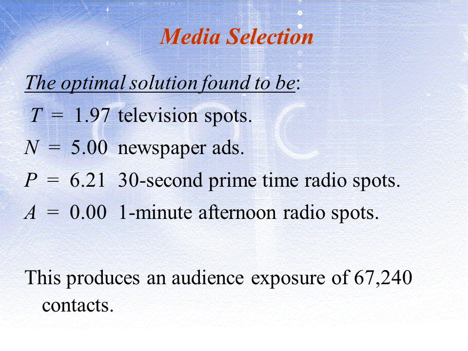 Media Selection The optimal solution found to be: