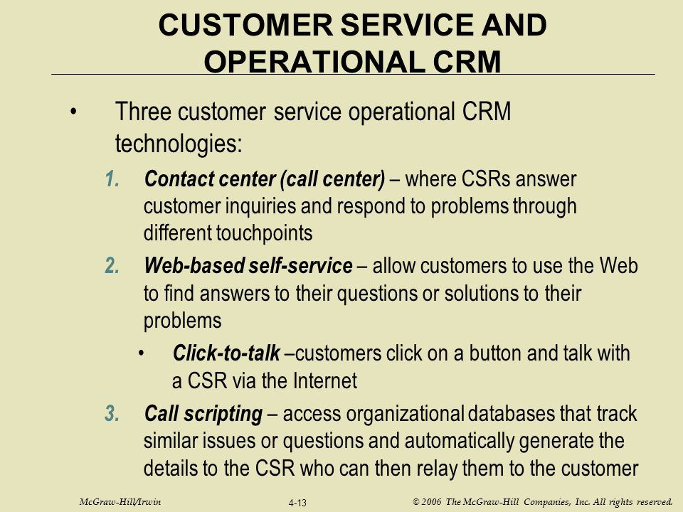 CUSTOMER SERVICE AND OPERATIONAL CRM