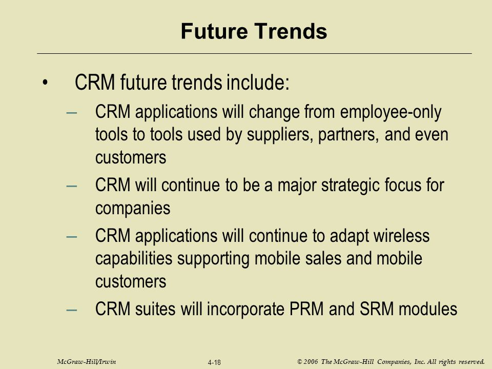 CRM future trends include: