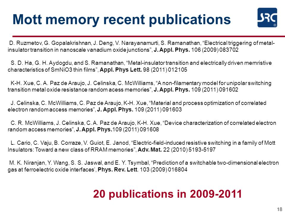 Mott memory recent publications