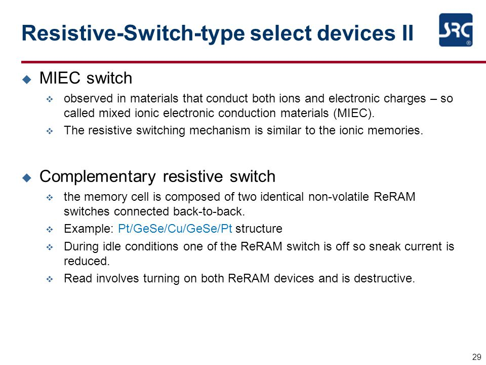 Resistive-Switch-type select devices II
