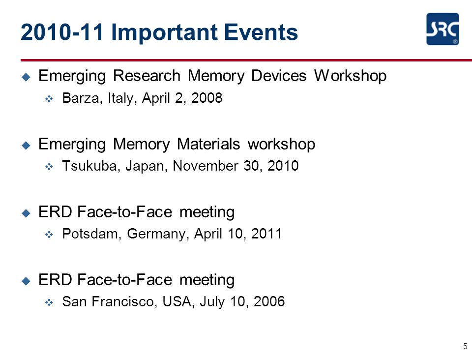 2010-11 Important Events Emerging Research Memory Devices Workshop