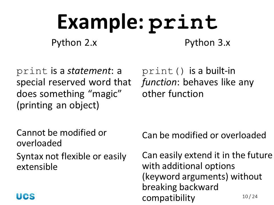Example: print Python 2.x