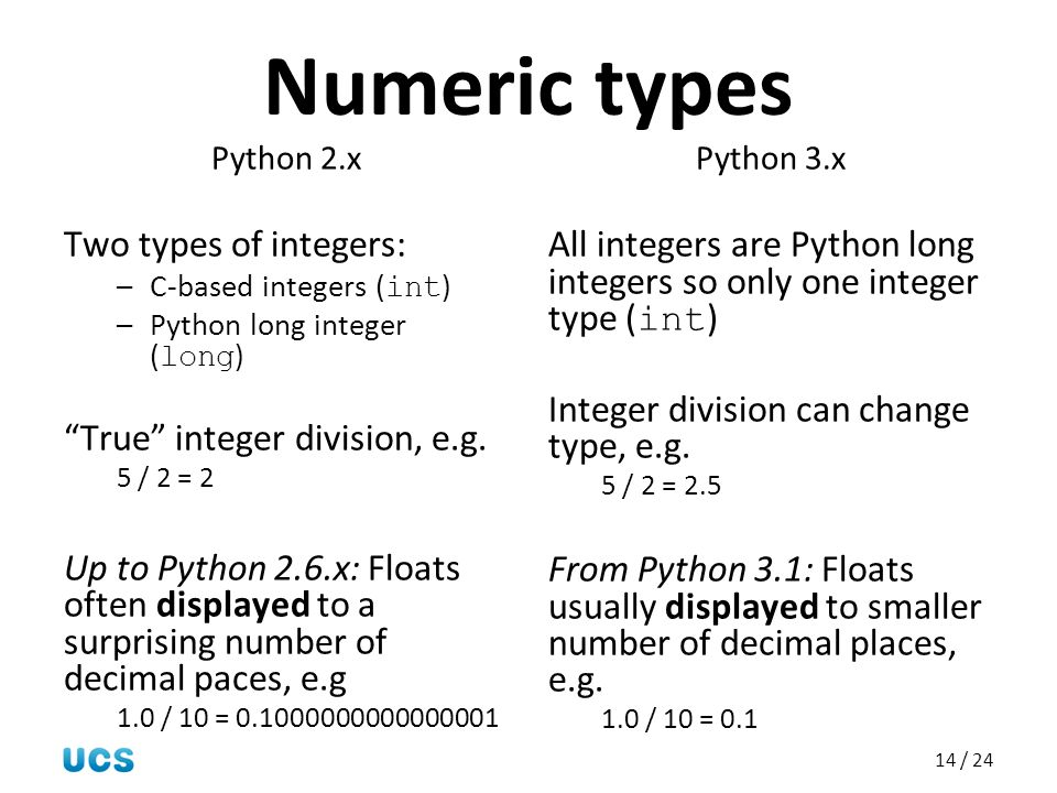 Numeric types Two types of integers: True integer division, e.g.