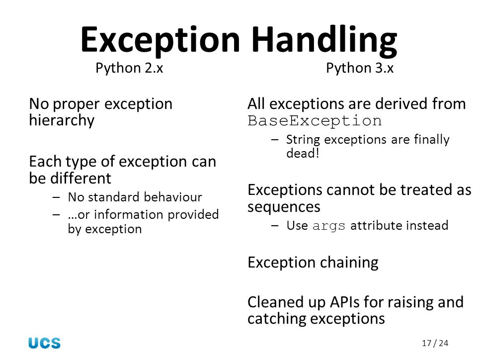 Exception Handling No proper exception hierarchy