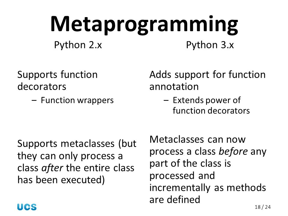 Metaprogramming Python 2.x Supports function decorators