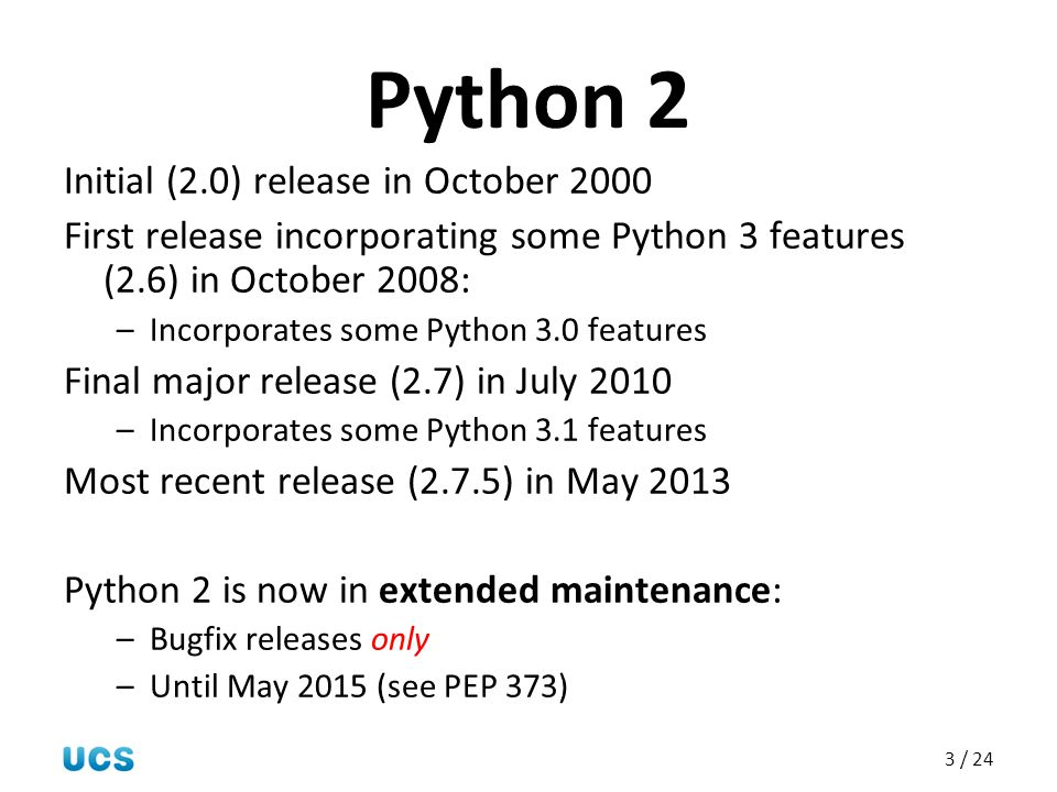 Python 2 Initial (2.0) release in October 2000
