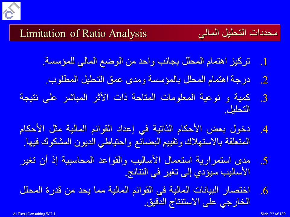 محددات التحليل المالي Limitation of Ratio Analysis