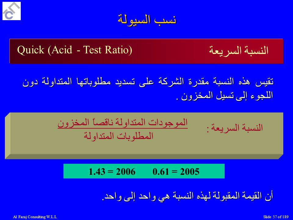 نسب السيولة النسبة السريعة Quick (Acid - Test Ratio)
