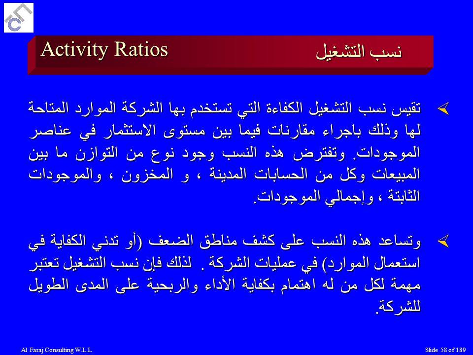 Activity Ratios نسب التشغيل