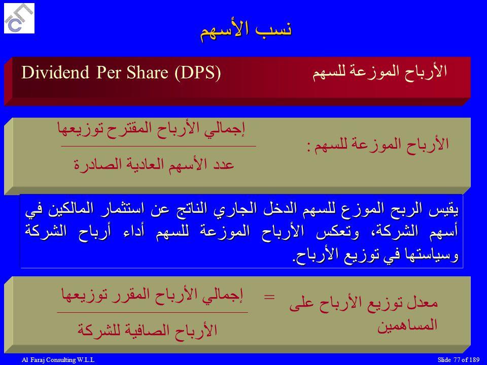 نسب الأسهم Dividend Per Share (DPS) الأرباح الموزعة للسهم