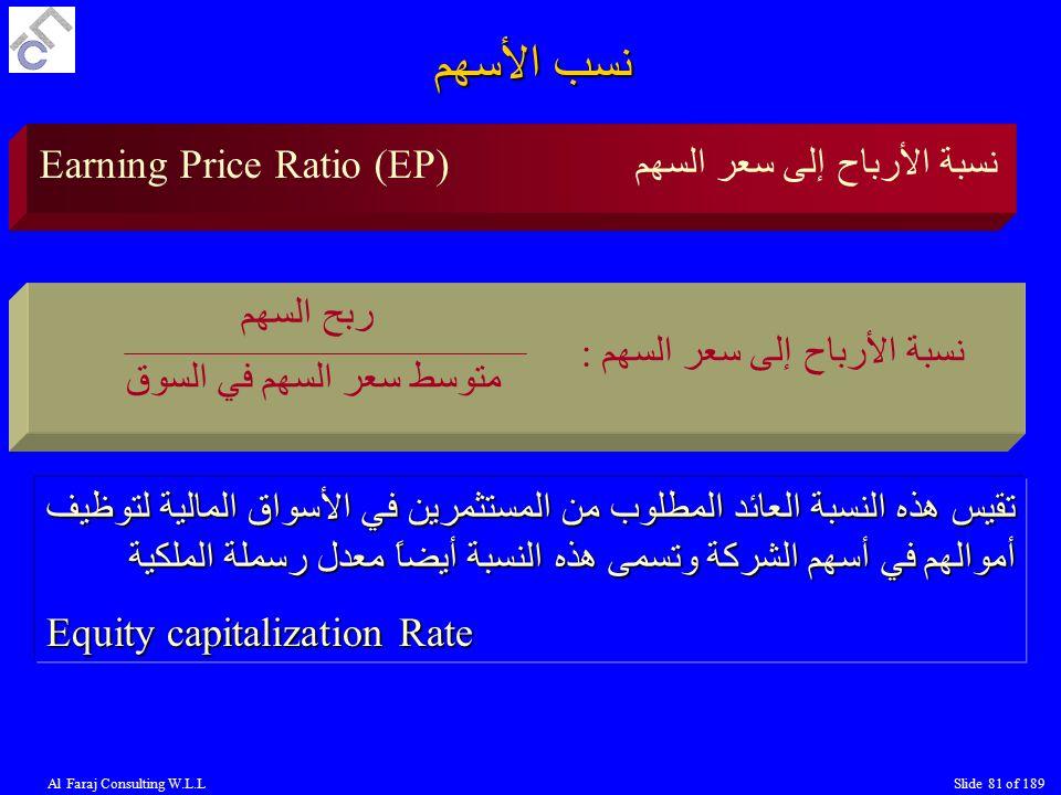 نسب الأسهم Earning Price Ratio (EP) نسبة الأرباح إلى سعر السهم