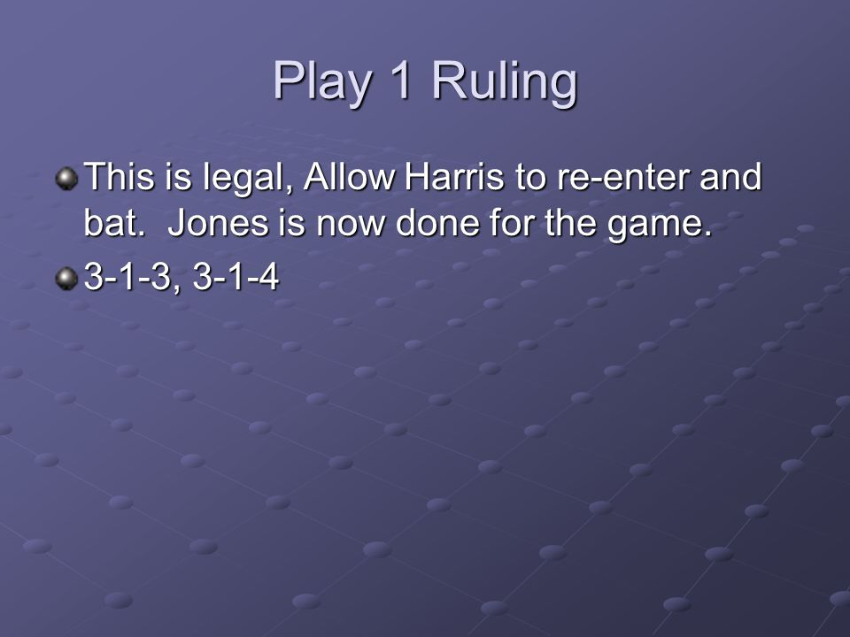 Play 1 Ruling This is legal, Allow Harris to re-enter and bat.