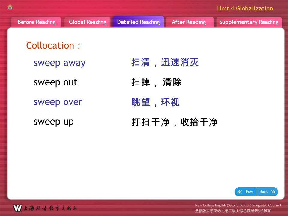 D R _ word _ sweep aside2 Collocation: sweep away 扫清,迅速消灭 sweep out