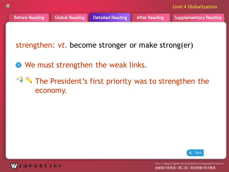 D R _ word _strengthen strengthen: vt. become stronger or make strong(er) We must strengthen the weak links.