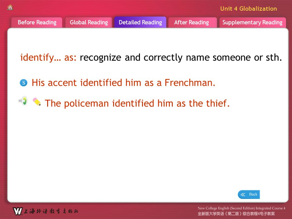 D R _ word _identify…as identify… as: recognize and correctly name someone or sth. His accent identified him as a Frenchman.
