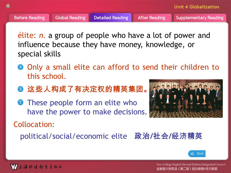 D R _ word _elite élite: n. a group of people who have a lot of power and influence because they have money, knowledge, or special skills.