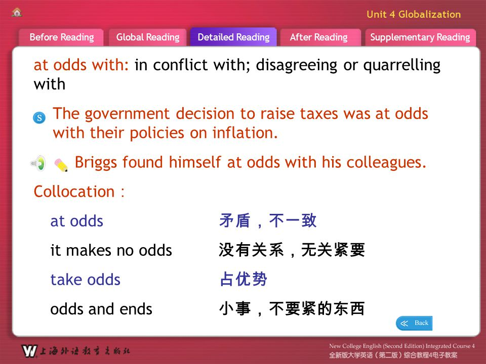 D R _ word _at odds with at odds with: in conflict with; disagreeing or quarrelling with.