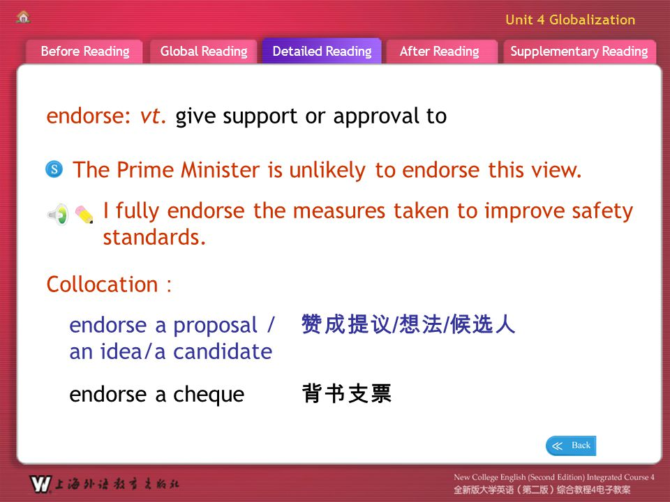 D R _ word _endorse endorse: vt. give support or approval to