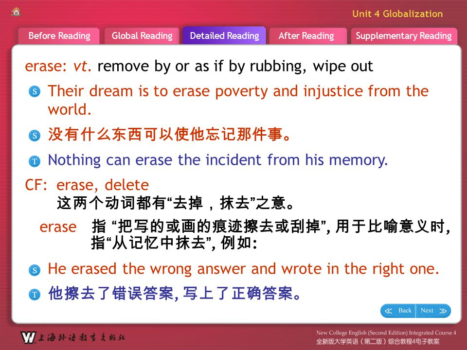 D R _ word _erase1 erase: vt. remove by or as if by rubbing, wipe out