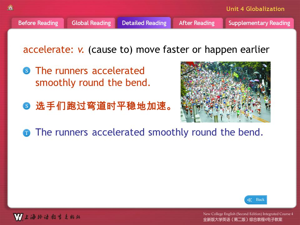 D R _ word _accelerate accelerate: v. (cause to) move faster or happen earlier. The runners accelerated smoothly round the bend.