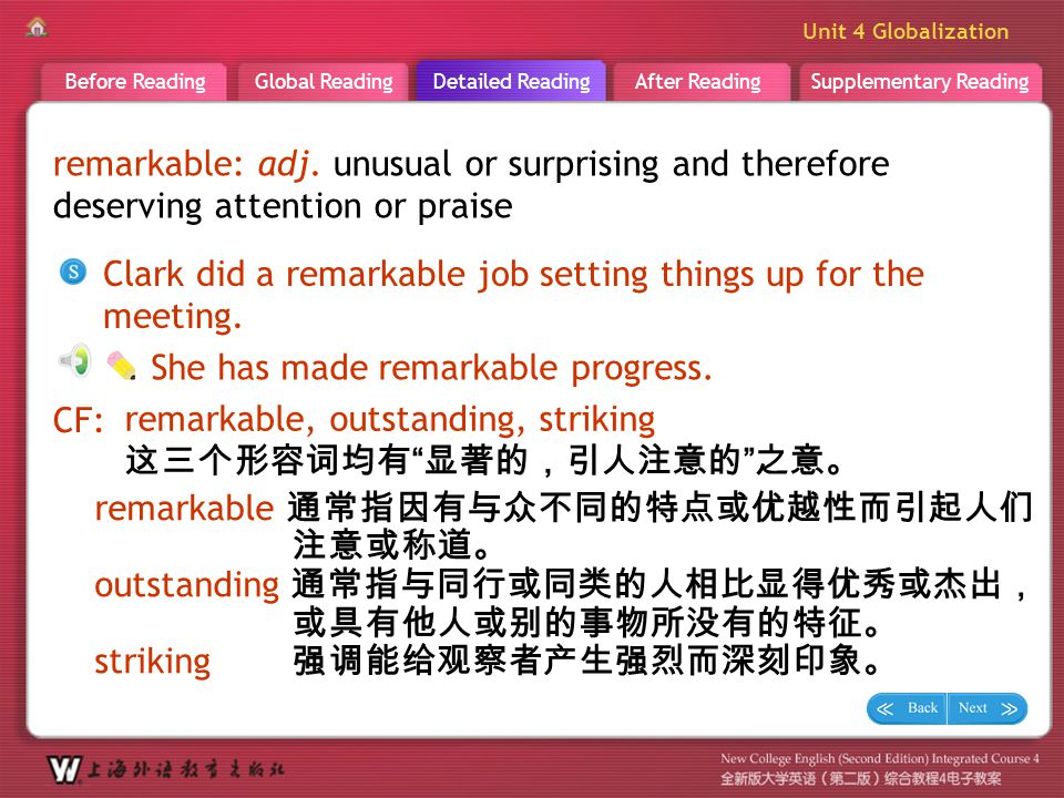 D R _ word _remarkable1 remarkable: adj. unusual or surprising and therefore deserving attention or praise.