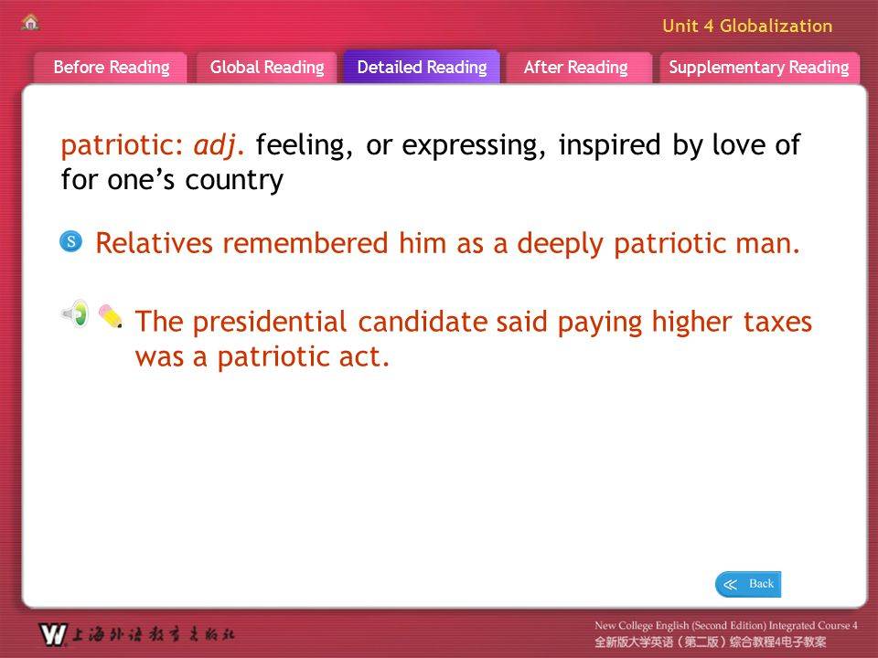 D R _ word _patriotic patriotic: adj. feeling, or expressing, inspired by love of for one's country.